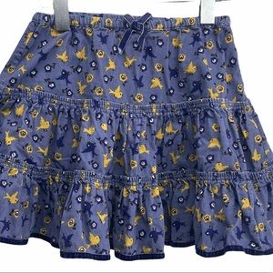 Mini Boden Skirt Corduroy Bird Print RARE 3 - 4 Y